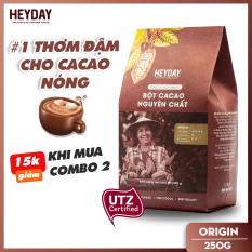 Bột cacao nguyên chất không đường Heyday – Origin 18% bơ cacao tự nhiên – Túi 250g – Chứng nhận UTZ – Hỗ trợ giảm cân – Keto – Vị socola nguyên bản – Không hương liệu, phụ gia