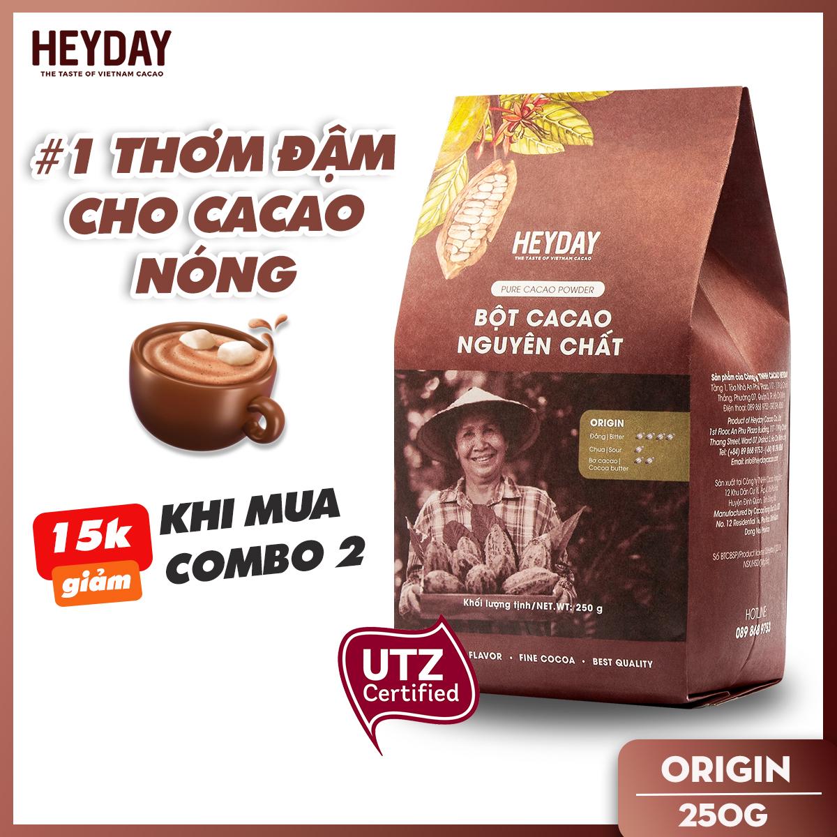 Bột cacao nguyên chất không đường Heyday - Origin 18% bơ cacao tự nhiên - Túi 250g - Chứng nhận...