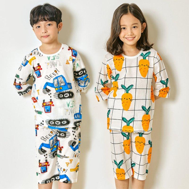 Bộ đồ lửng Unifriend Hàn Quốc Uni2104 cho bé gái, bé trai 1-10 tuổi, vải cotton organic Korea-Chính hãng