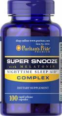 SUPER SALES – CLEAR STOCK – chỉ với 69K – Viên uống giúp ngủ ngon Puritan's Pride Super Snooze with Melatonin 100 viên HSD 07/2019