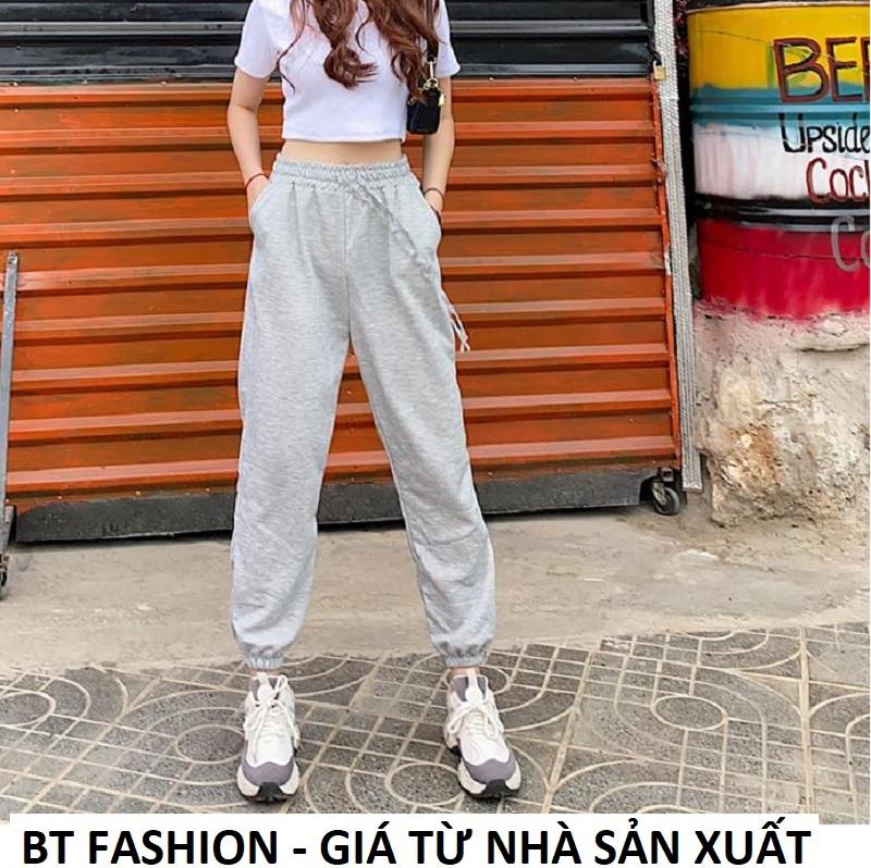 Quần Thể Thao Jogger Nữ Thời Trang Hot 2020 BT Fashion (TRƠN XÁM TRẮNG MỚI TT02) + Hình thật, Video...