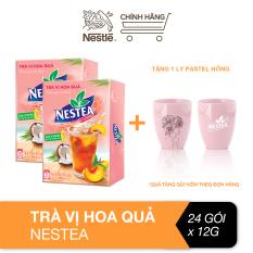 [Tặng 1 ly pastel hồng] Combo 2 hộp trà Nestea vị hoa quả hộp (12 gói x 12g)