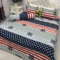 Ga giường bộ ra nệm chun và 2 vỏ gối cotton grap đệm trải giường cỡ 1m6 x 2m và 1m8 x 2m nhiều mẫu