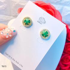 Bông tai nữ, khuyên tai xanh thạch đính đá cao cấp Orin T615