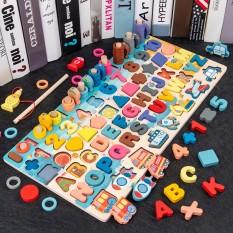 Bảng chữ cái tiếng Anh chữ in hoa (6 in 1) gồm chữ cái, chữ số, hình học, câu cá, học toán