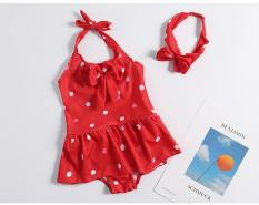 váy bơi liền thân bé gái chấm bi + kèm nơ cài đầu