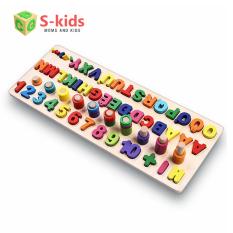 Đồ chơi gỗ Bảng Tiếng Việt Hoa có dấu, đồ chơi học đếm số, chữ cái, hình học cho bé.