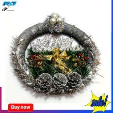 Vòng Nguyệt Quế Trang Trí Noel 33Cm Kèm Chữ Merry Christmas Và Thiên Thần May Mắn