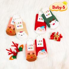 Set 2 đôi tất vớ Noel cao cấp chống trượt cổ thấp cho bé 0-3 tuổi chất cotton thấm hút tốt họa tiết Giáng sinh đáng yêu Baby-S – ST015