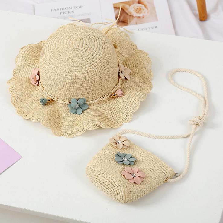 Combo mũ rộng vành và túi cho bé gái 3-8 tuổi.Mũ cói trẻ em Unifriend phong cách Hàn Quốc MU02