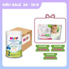 [QUÀ TẶNG HOT] Thùng 4 lon sữa bột dinh dưỡng công thức HiPP 2 Organic Combiotic chất lượng hữu cơ tự nhiên an toàn, bổ sung Omega 3 (DHA & ALA) dành cho trẻ từ 6 đến 12 tháng tuổi (4 lon x 800g)