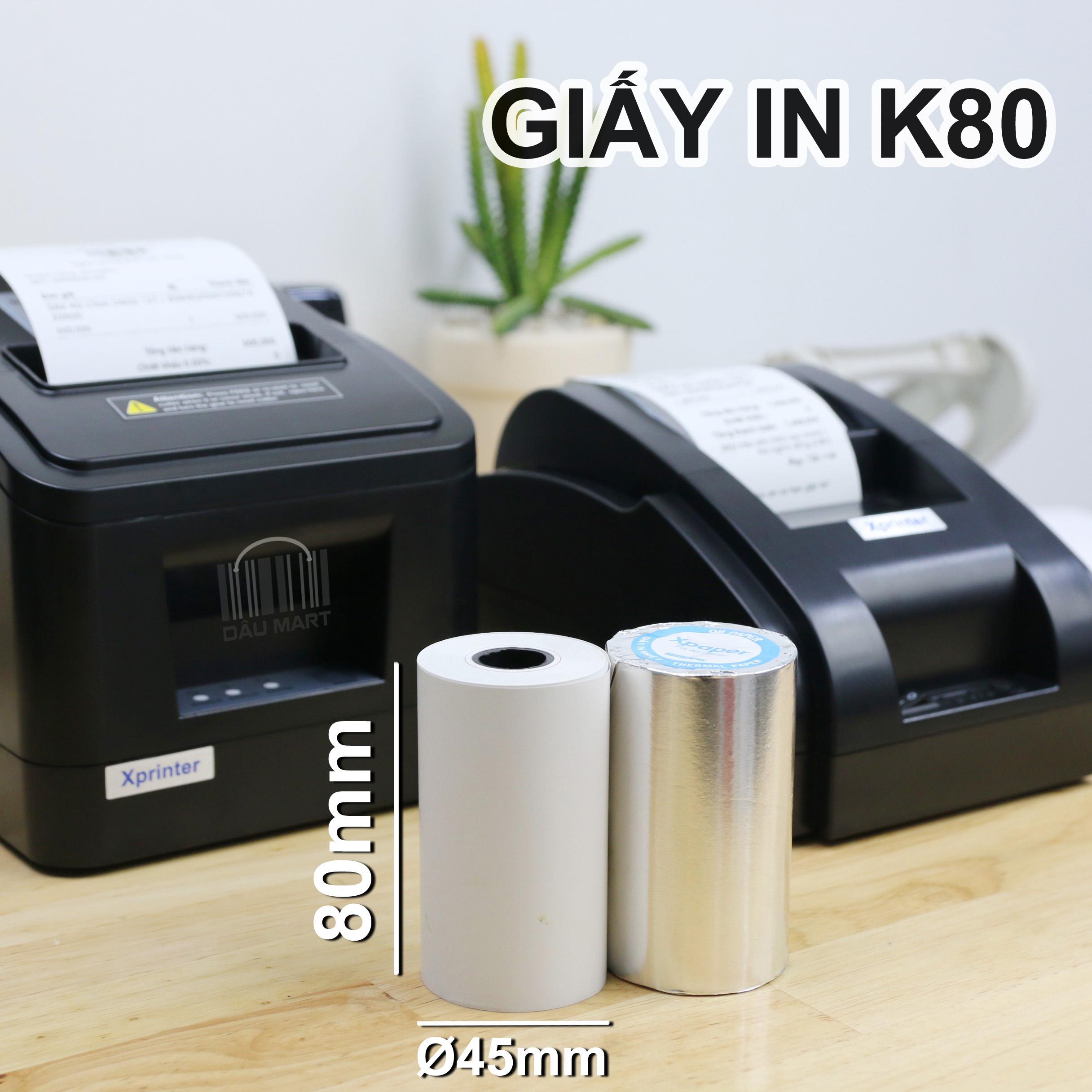 [HCM]Giấy in Hóa Đơn in Bill K80 K80x45 - Giấy in nhiệt khổ 80mm - dùng cho máy POS bán...