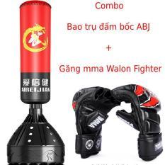 bao cát đấm bốc boxing tự đứng Aibeijiansport® chính hãn.g + găng tay đấm bốc mma walon figher hở ngón cao cấp – Bảo hành 12 tháng