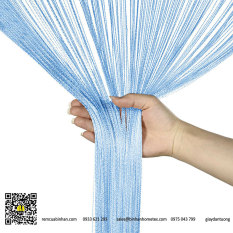 Rèm sợi chỉ trơn màu xanh blue 3m*3m Rèm sợi chỉ trang trí nhà hàng, shop, spa tiệc cưới