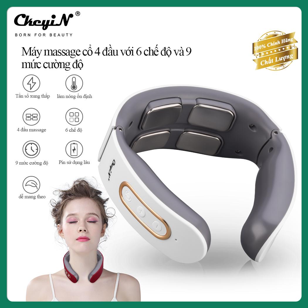 CkeyiN Máy mát xa cổ với 6 chế độ và 9 mức cường độ, massage giảm đau cho cơ bắp...