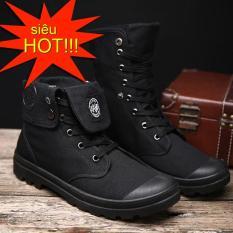 Giày nam cao cổ đa năng vải bố dày dặn cổ bẻ xuống hoặc dựng lên thành bốt giaynam – G16 đen
