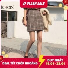 ICHOIX Váy Ngắn Cạp Cao Kẻ Ca Rô Chữ A Một Bước Kiểu Cổ Điển Mới 2020, Dành Cho Nữ