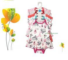 set 5 Bộ bodysuit liền váy cotton bé gái xinh xắn 3 tháng – 2 tuổi( Màu ngẫu nhiên )