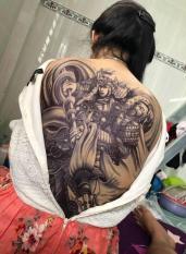 Hình xăm dán tattoo triệu vân kín lưng trắng đen 34x48cm- tặng mini tattoo