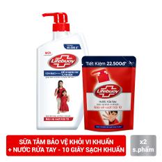 Combo Sữa Tắm Và Nước Rửa Tay Sạch Khuẩn Lifebuoy Bảo Vệ Vượt Trội 10 (850g + 450g)