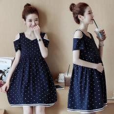 Đầm bầu chấm bi màu xanh ( tặng kèm 2 đôi vớ sơ sinh)