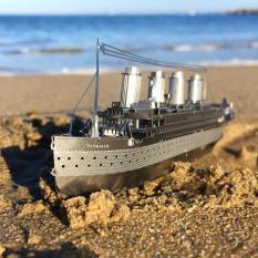 Mô hình kim loại lắp ghép trang trí trưng bày 3d Tàu Titanic ( mua 2 bộ tặng dụng cụ lắp ghép)