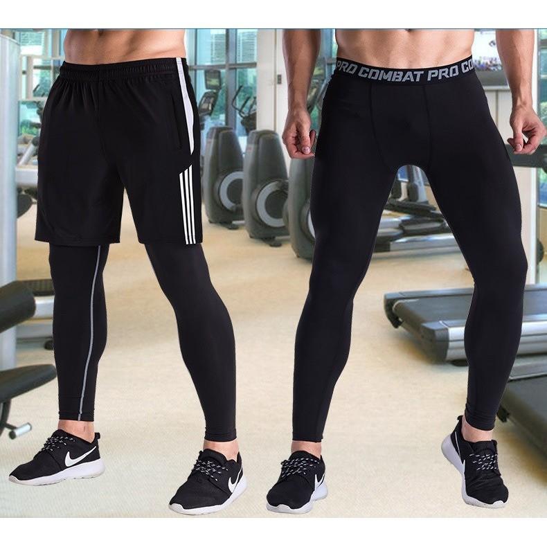 Quần Pro Combat quần giữ nhiệt nam Full đen trơn dài đến mắt cá chân dùng trong tập gym, bóng...