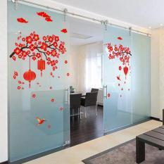 Decal tết, hình dán trang trí năm mới hoa đào đỏ mai đỏ khổ 60*90 (mẫu 4)