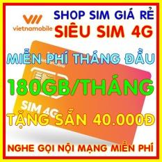 Siêu Sim 4G Vietnamobile có 180GB/Tháng – Đã có sẵn miễn phí sẵn tháng đầu + Tặng Sẵn 40.000đ + Nghe Gọi Nội Mạng Miễn Phí – Sim Trọn Đời – Shop Sim Giá Rẻ