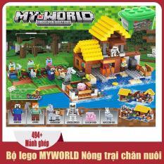 Đồ chơi trẻ em thông minh xếp hình lego Minecraft MYWORLD Nông trại chăn nuôi (494 mảnh ghép), dành cho trẻ từ 6 tuổi trở lên, nhựa ABS an toàn cho trẻ