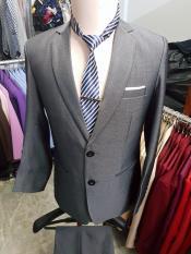 [Xám Ghi] Bộ vest nam 2 khuy chất liệu vải bố dày mịn