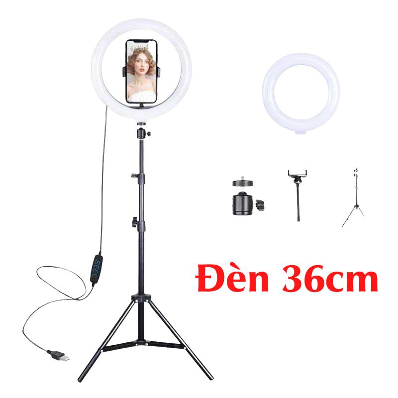 [Đèn livestream 36cm] hỗ trợ chụp ảnh, make up 3 chế độ sáng