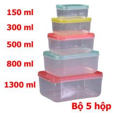 Bộ 5 hộp nhựa mini, hộp nhựa đựng thực phẩm có nắp đậy , trữ đông thương hiệu Fataco an toàn- Màu ngẫu nhiên