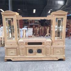 kệ ti vi gỗ gõ sồi nga 2m2 hàng chuẩn xuất khẩu – Kệ ti vi – tủ rượu liền kề sang trọng, quý phái