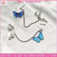 [ 1 Chiếc ] Khuyên tai bông tai kẹp tai hình bướm vô cùng độc đáo cá tính cho nữ chất liệu kim loại phong cách trẻ trung KT-84