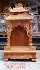 Bàn thờ thần tài mái ngói gỗ gõ đỏ 48x48x96cm