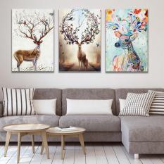 Bộ 3 tranh canvas Hưu An Khang Sung Túc treo phòng khách, phòng ngủ, phòng ăn – Khung hình phạm gia PG197