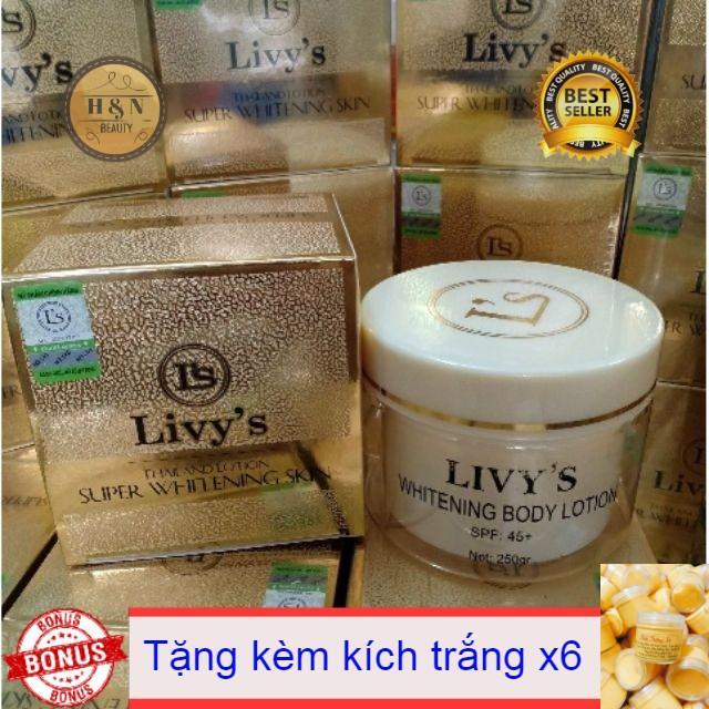 kem body dưỡng trắng da livy's thái lan 250gr ( tặng kèm kích trắng)