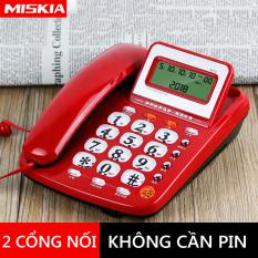 Điện thoại cố định điện thoại bàn màu trắng và đỏ, 2 cổng nối POS và máy Fax TopOne2020