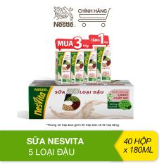 [MUA 3 HỘP TẶNG 1 HỘP] Thùng Sữa Nesvita 5 loại đậu (40 Hộp x 180ml)