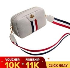 ( Freeship 11K ) Túi đeo nữ dễ thương, phong cách hàn quốc, kiểu dáng thời trang, dây đeo sọc 3 màu trẻ trung, chất liệu PU bền đẹp LX0011