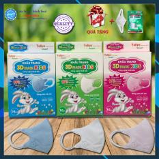 [5 hộp-50 cái] Khẩu trang 3D trẻ em ❤️, 4 lớp kháng khuẩn, Công nghệ Nhật Bản, dòng sản phẩm 3D Smart Kid Tulips
