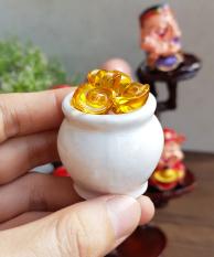 Chum vàng may mắn dạng thỏi (gồm 01 hủ sứ + 10 thỏi vàng 1.5cm + 7 hạt gốm mèo)