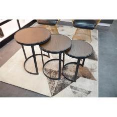 Bàn trà – bàn sofa – bàn cafe- Bộ 3 bàn tròn mặt gỗ đa năng – Bàn gỗ tách gộp 3 in 1 cao cấp phong cách hiện đại tiết kiệm không gian , Bàn decor trang trí phòng khách , sảnh, quán cafe, nhà hàng DH-SYF008
