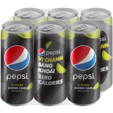 [QT] Lốc 6Lon Nước Ngọt Có Gas Pepsi Vị Chanh Không Calo (330ml/Lon)