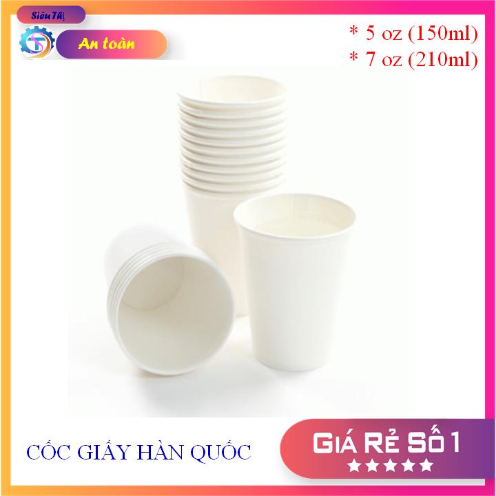[ RẺ VÔ ĐỊCH ] Combo 100 – Ly giấy cốc giấy Hàn Quốc uống cafe ,uống nước , trà.Loại 5Oz 150 ml, 7Oz 210 ml màu trắng ( White )