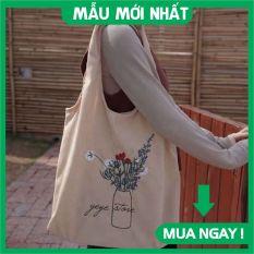 Túi tote, túi vải canvas hình bình hoa đựng đồ đi chơi đi học đi làm phong cách Hàn Quốc [MẪU MỚI NHẤT]