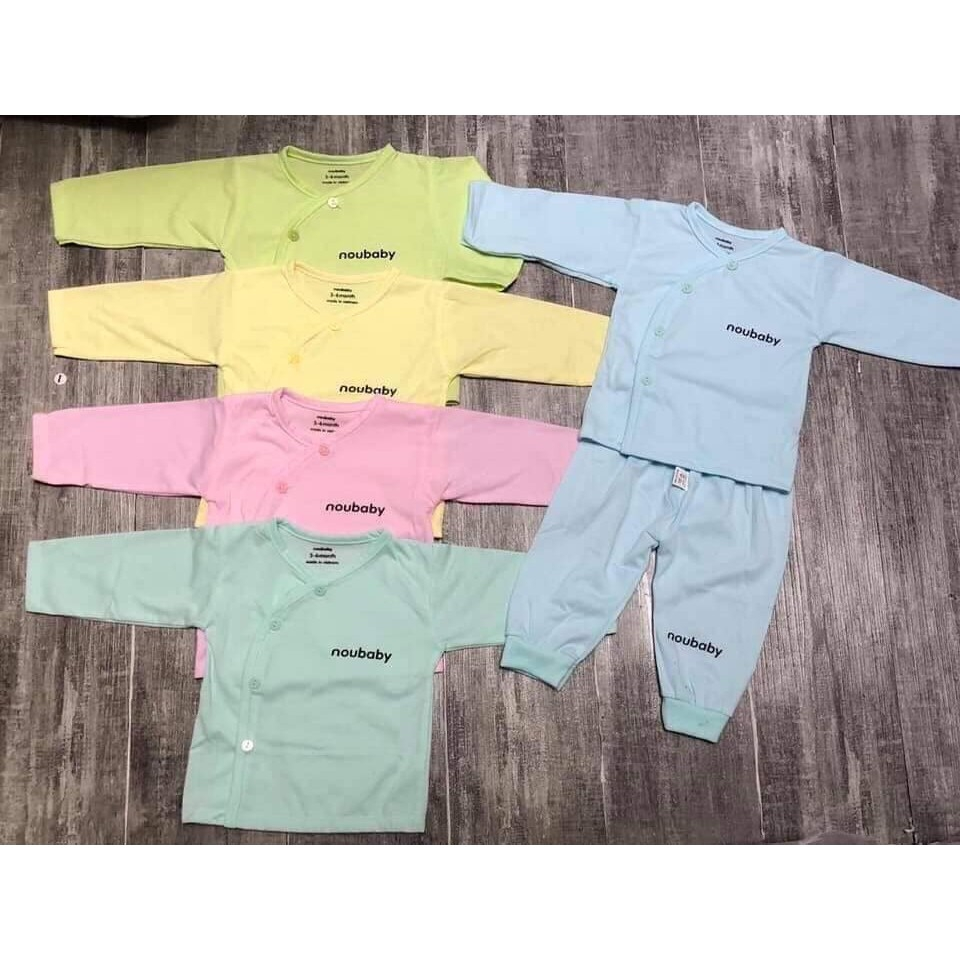 [BO15] Bộ quần áo cho trẻ sơ sinh 0 đến 9 tháng Noubaby Cài Chéo, chất liệu cotton vô cùng...