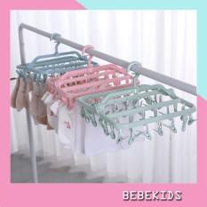 Móc quần áo sơ sinh Mắc phơi đồ cho bé đa năng gấp gọn 32 kẹp