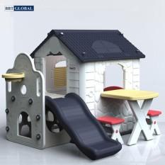 Nhà nhựa cầu trượt Hàn Quốc ghi xám có bàn ghế HN777G